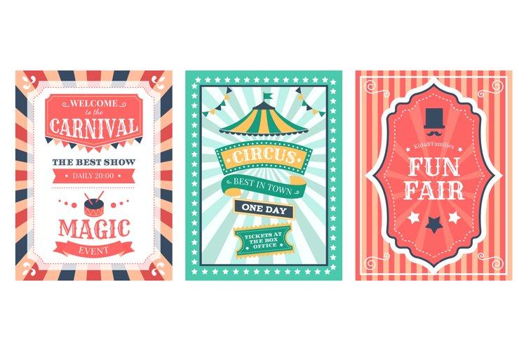 Retro circus poster. Vintage circus carnival show invitation example image 1