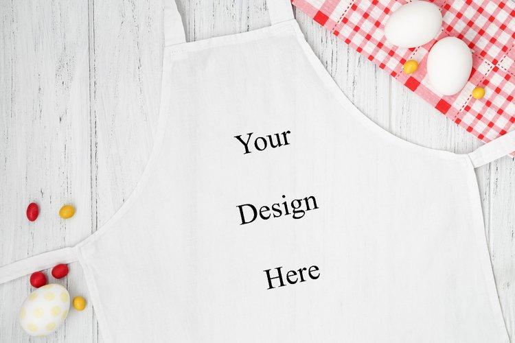 Easter white apron mockup, kitchen mock up, flat lay example image 1
