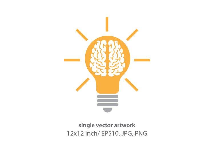 brain light bulb, vector example image 1