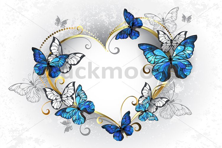 Jewelry Heart with Butterflies Morpho example image 1
