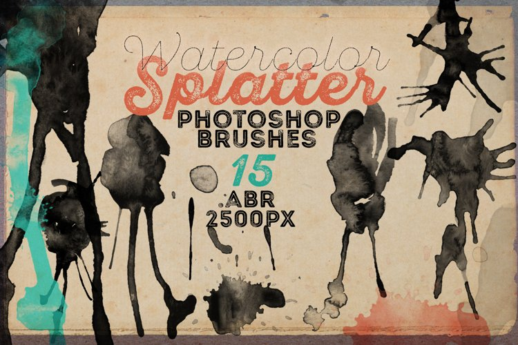 15 HQ Watercolor Splatter PS Brushes example image 1