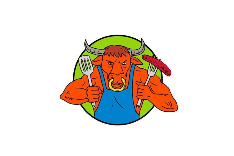 Bull Holding Barbecue Sausage Drawing Color example image 1