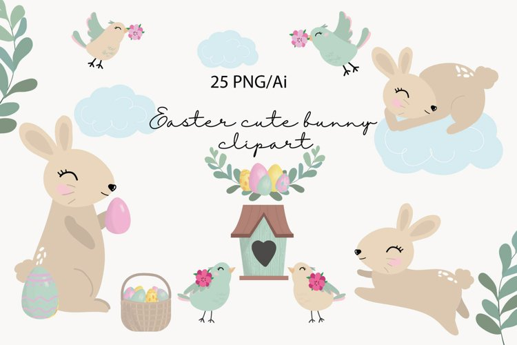 Easter clipart, easter bunny PNG, easter eggs, easter PNG example image 1