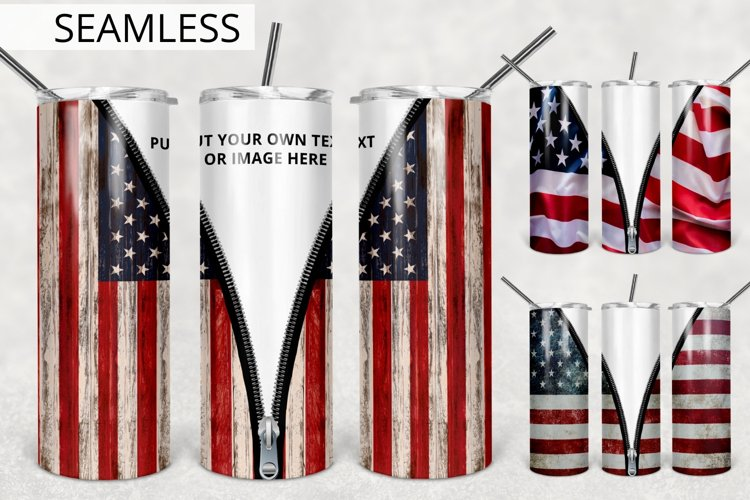Add Text/Image Patriotic Tumbler Design, Zipper Tumbler 20oz