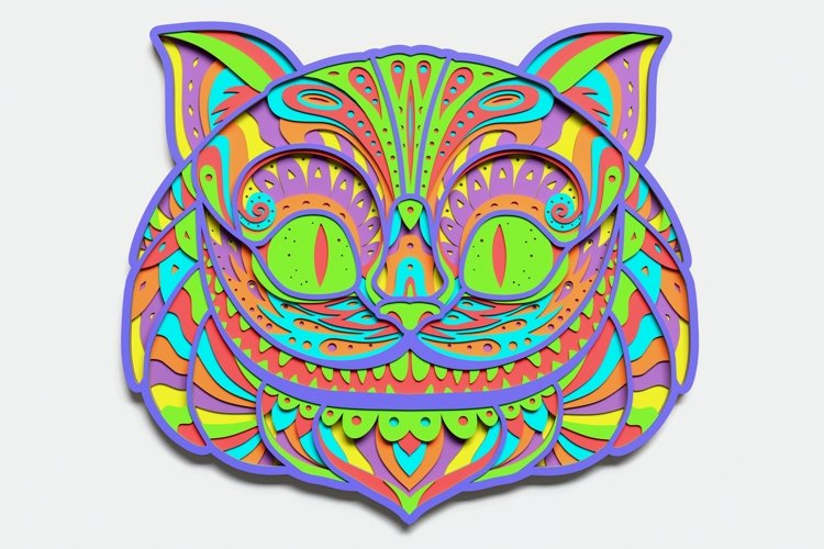 Multilayer Cheshire Cat Mandala, Vector file for cutting example image 1