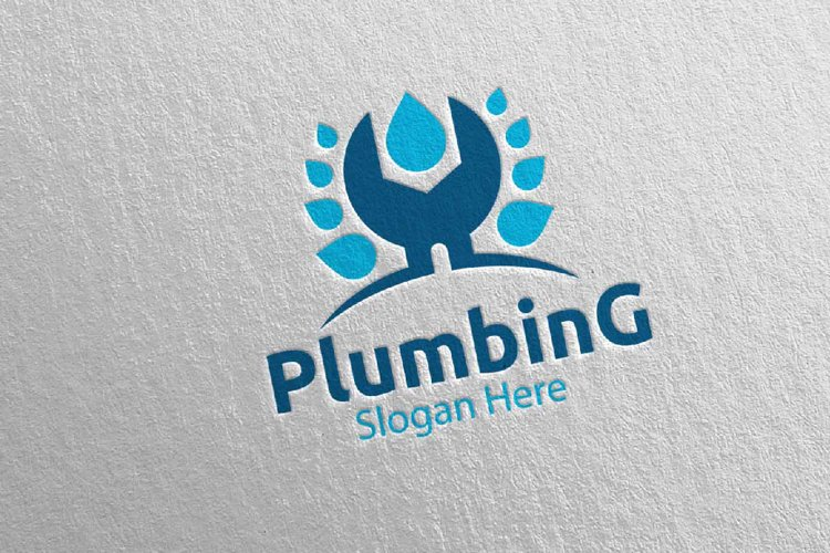 Wrench Plumbing Logo with Water and Fix Home Concept 77 example image 1