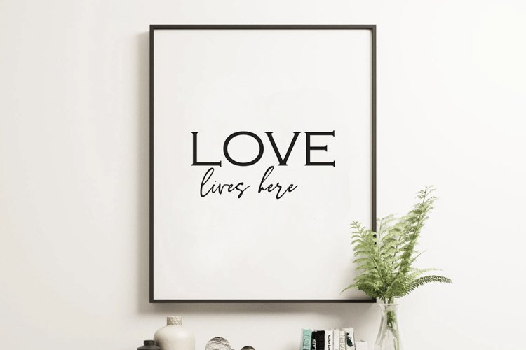 Love Lives Here, Love Sign, Love wall art, Sign With Saying example image 1