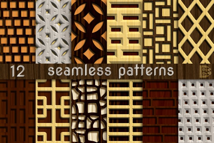 12 Decorative 3D Wooden Seamless patterns. Digital paper example image 1