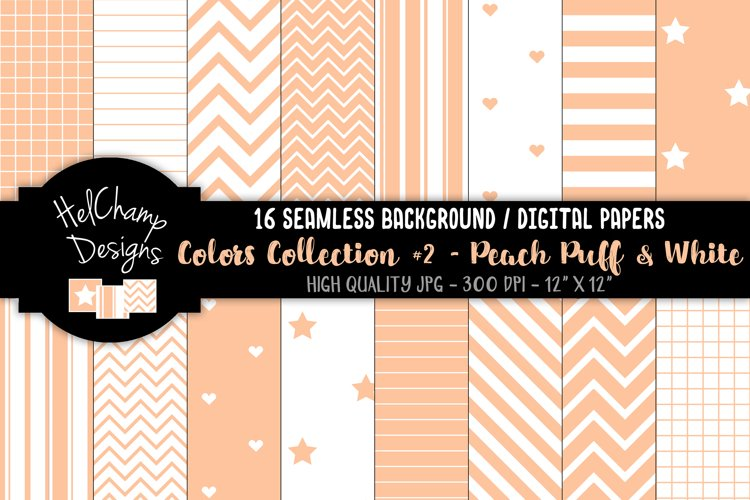 16 seamless Digital Papers - Peach Puff and White - HC163