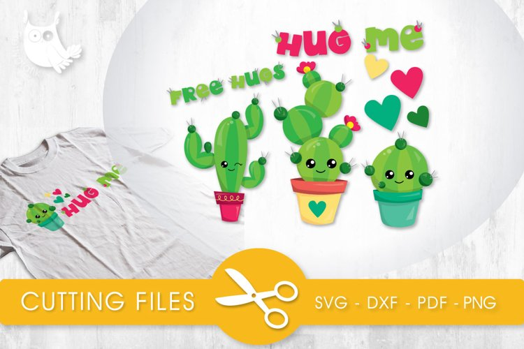 Hug Me Cactus cutting files svg, dxf, pdf, eps included - cut files for cricut and silhouette - Cutting Files SVG example image 1
