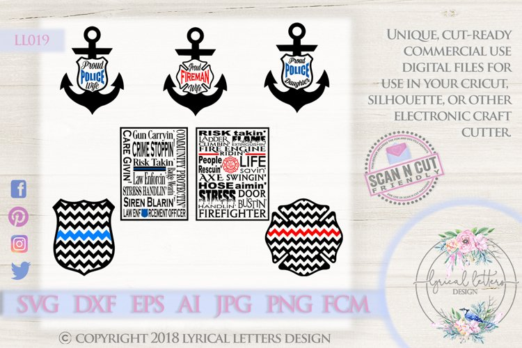 Police and Fireman Wife Bundle of SVG DXF Cut Files LL019 example image 1