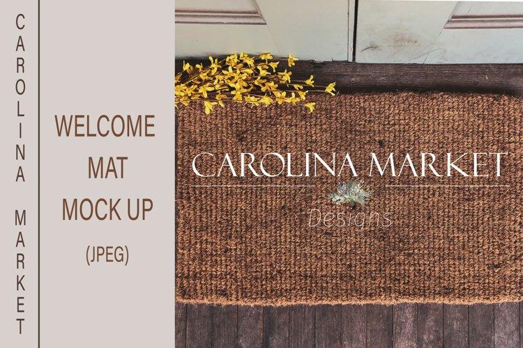 Welcome Mat Mockup | Flat lay| Farmhouse Mockups | JPEG example image 1