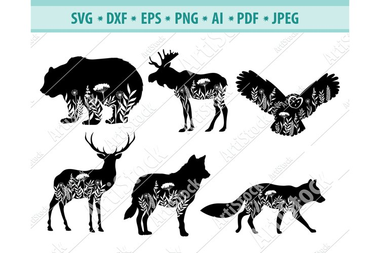 Nature animals Svg, Animals with flower svg, Png, Dxf, Eps example image 1