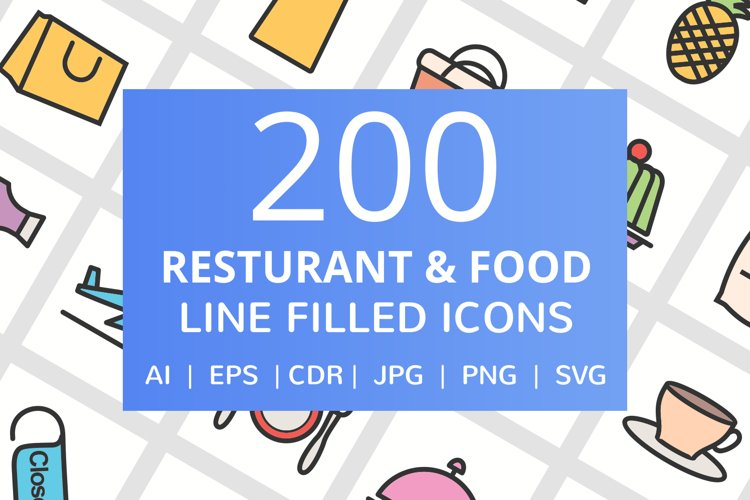 200 Restaurant & Food Filled Line Icons example image 1