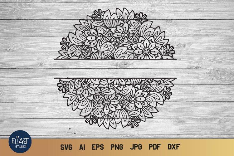 Split Monogram SVG | Floral Mandala SVG | Summer SVG
