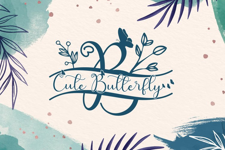 Cute Butterfly Monogram example image 1