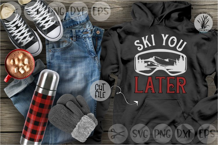 Ski You Later, Sports, Goggles, Winter, Skiing, Cut File SVG example image 1