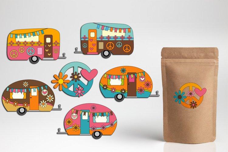 Hippie Camper Caravan clipart graphics, Peace Love 70s Retro