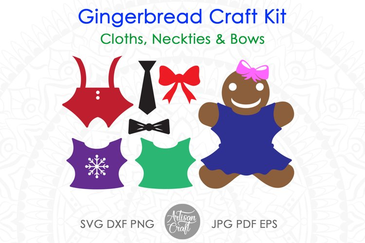 Gingerbread man SVG kit, Christmas paper crafts, clip art example 4