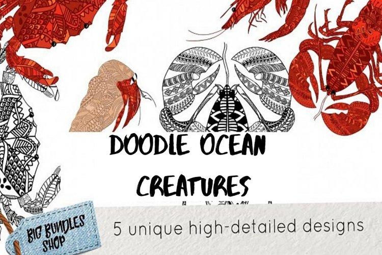 Doodle inspired ocean creatures example image 1