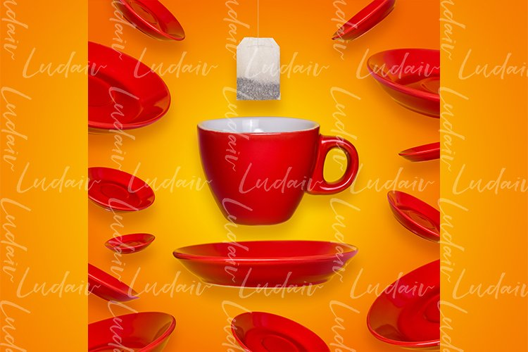 Creative surreal design with a red coffee cup
