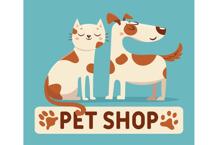 Cat and dog. Cartoon pet shop or vet store logo sign with ha
