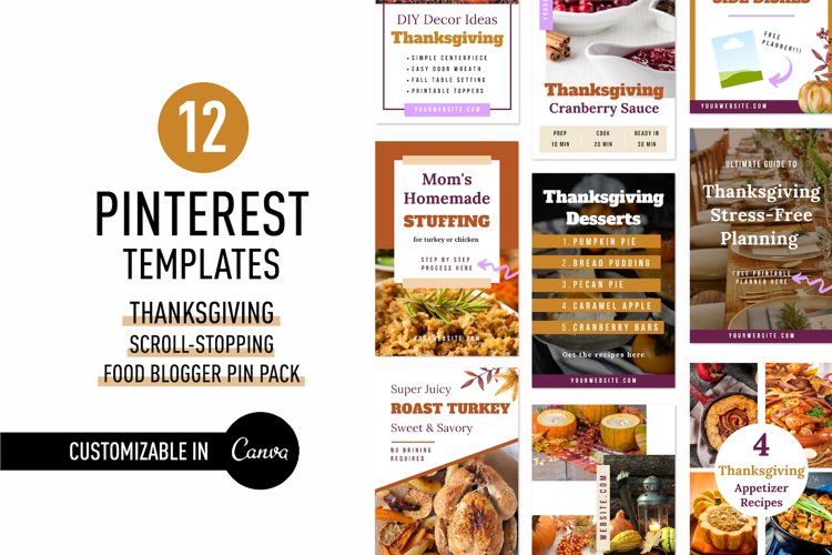Thanksgiving Scroll Stopping Food Blogger Pinterest Pin Pack example image 1