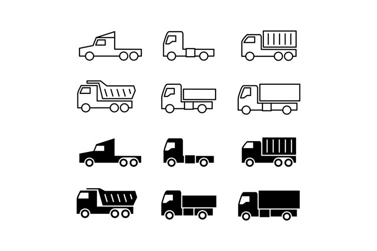 Truck silhouette and line icons. Shipping, cargo trukcs, dum example image 1