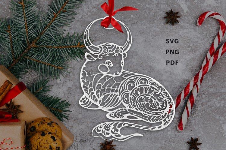 Ox, Symbol of the Year 2021, Decorative animal art example image 1