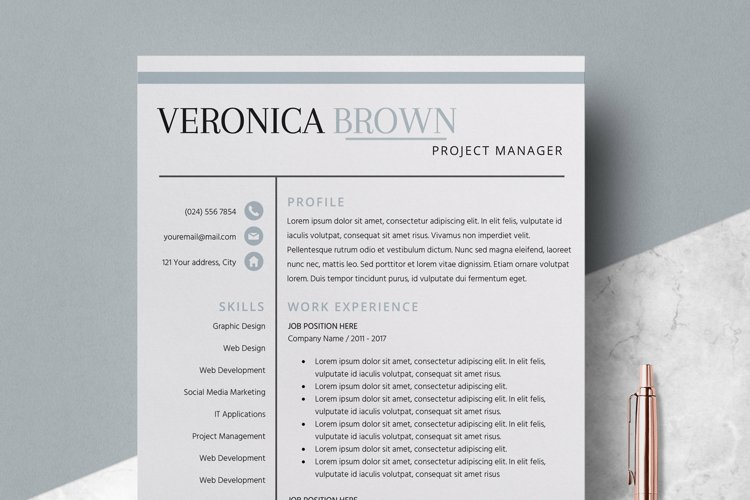 Resume | CV Template Cover Letter - Veronica Brown