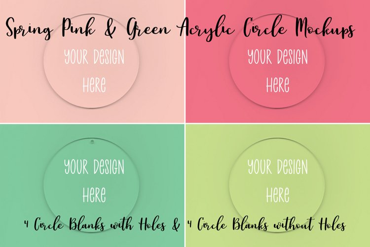 Spring Pink & Green Clear Acrylic Mockups Circles