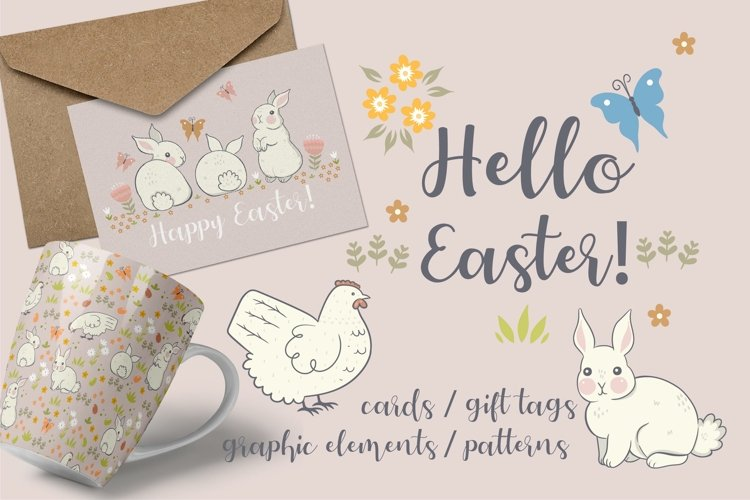 Collection of Easter graphics with chickens and rabbits.