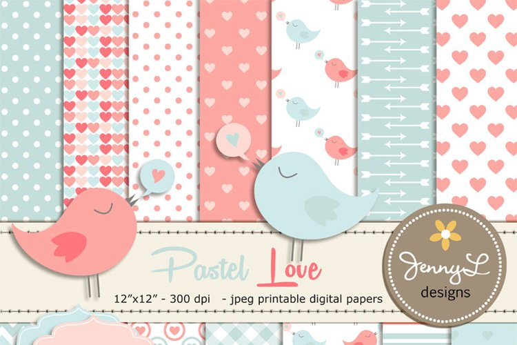 Pastel Valentine's Day Digital papers, Valentine Hearts,  Baby Baptism, Love Birds Clipart, Scrapbooking Paper example image 1