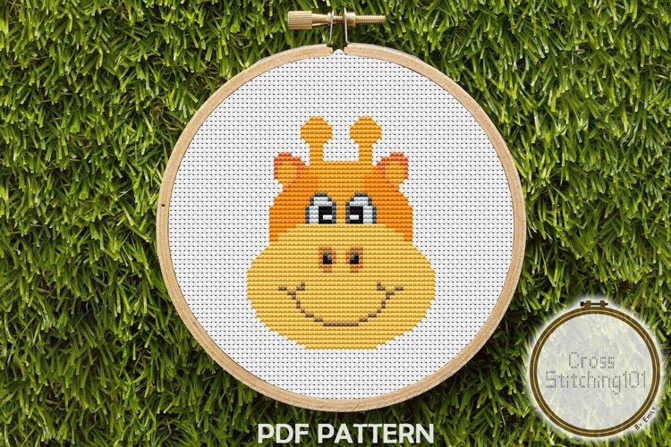 Cartoon Giraffe Face Cross Stitch Pattern - Instant Download example image 1