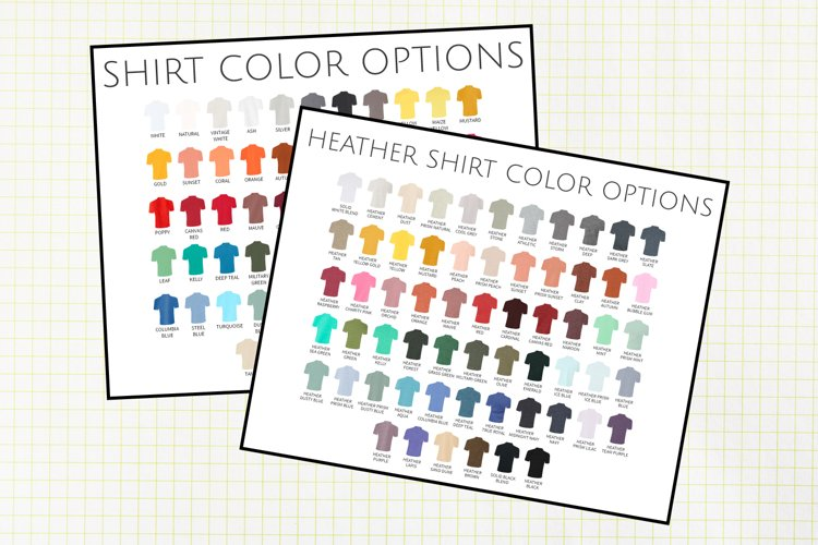 Solid and Heather Bella 3001 Color Charts, All Colors