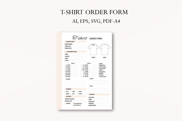 T-Shirt order form, Business planner