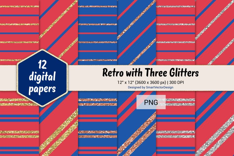 Pinstripes Retro with Three Glitters Color Combo #100 example image 1
