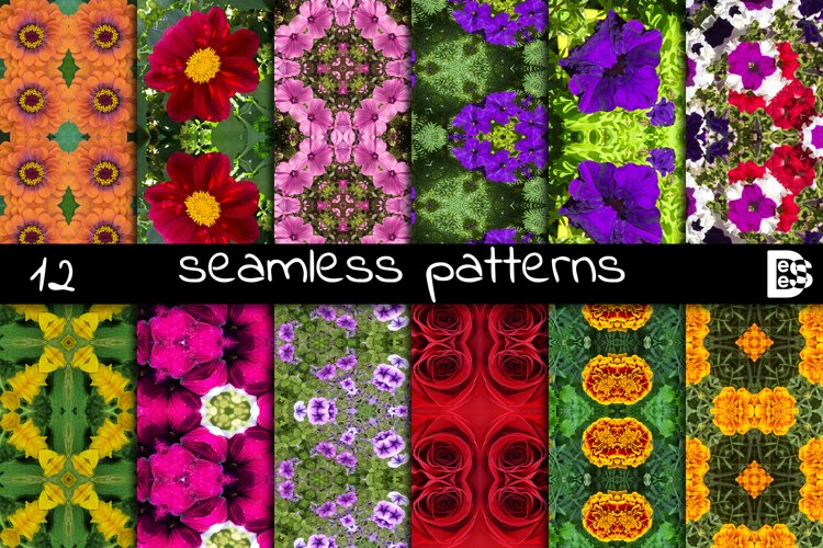 12 abstract Seamless colorful FLOWER patterns pack. example image 1