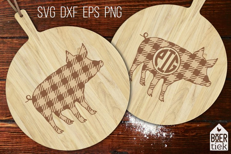 Buffalo plaid pig  Farm SVG cutting file   2 designs