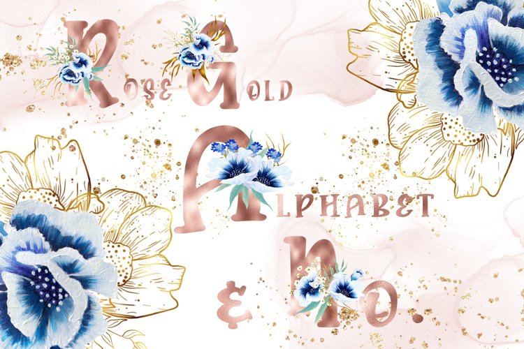 Rose Gold Watercolor Anemone Alphabet and Numbers example image 1