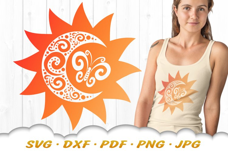 Moon And Sun Butterfly SVG DXF Cut Files example image 1