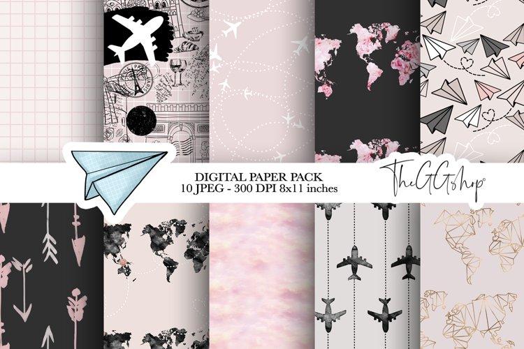 Wanderlust & Travel Digital Paper Pack example image 1