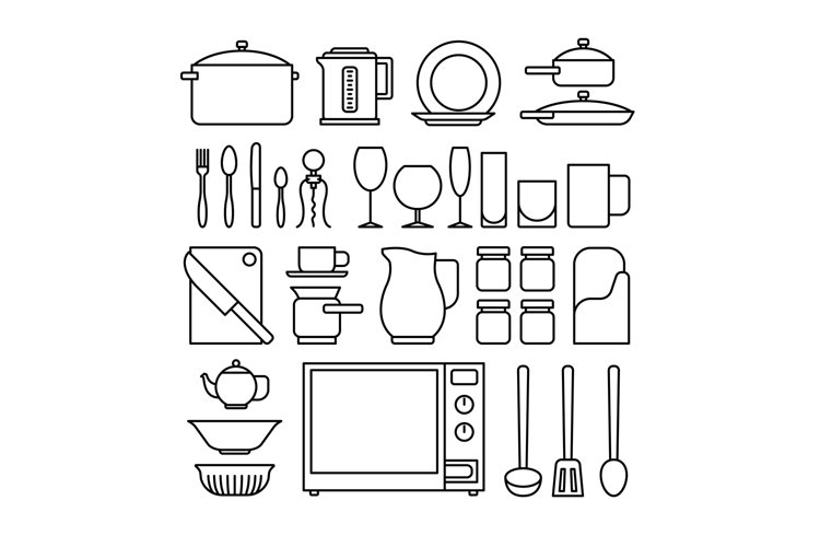 Line kitchen icons example image 1