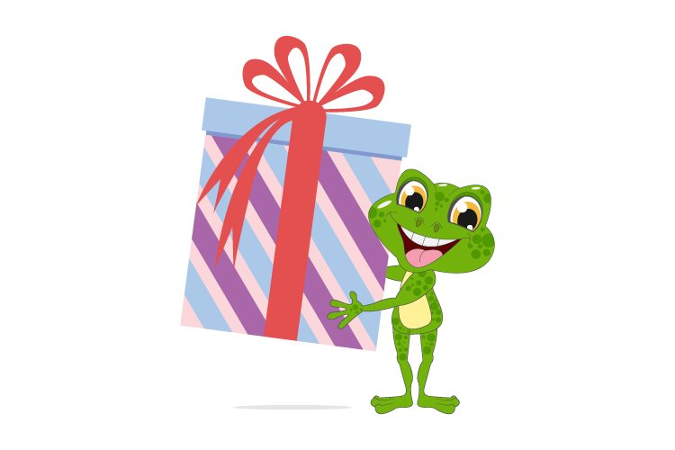 cute frog cartoon with big gift, simple vector illustration example image 1