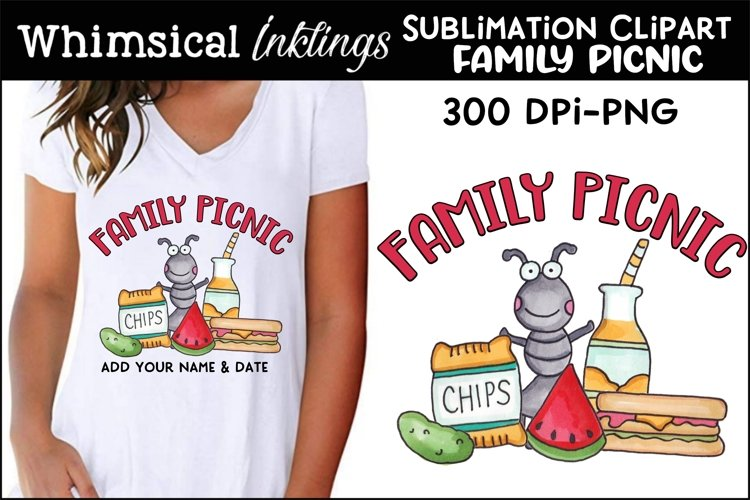 Family Picnic Sublimation Clipart example image 1
