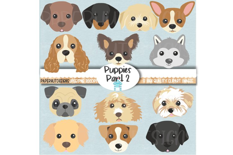 Puppies Clipart|Puppy Dog Faces|Dog Illustrations|Puppy Clip