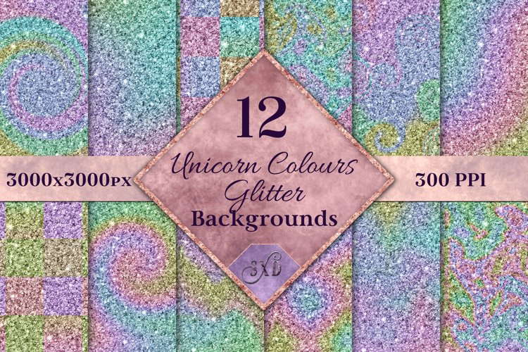 Unicorn Colours Glitter - 12 Background Image Textures example image 1