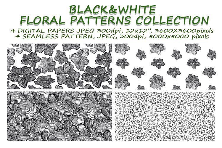 Black&White floral seamless pattern collection, 4 patterns