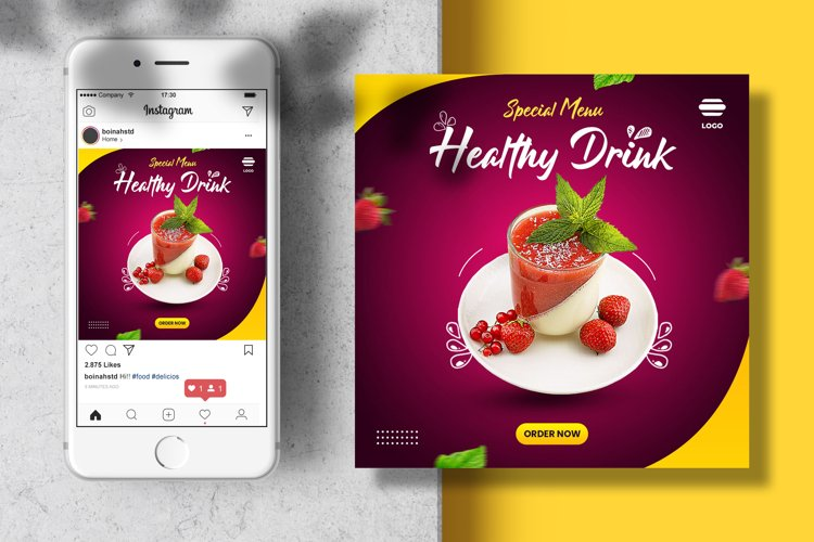Food banner instagram template example image 1