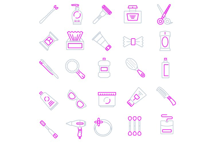 Personal care products icons set example image 1